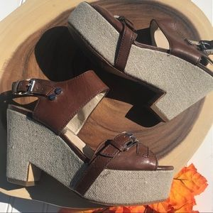 Michael Kors Canvas & Leather Stacked Sandals